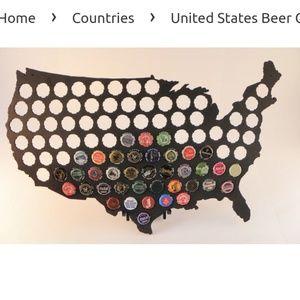 US bottle cap map- NIB